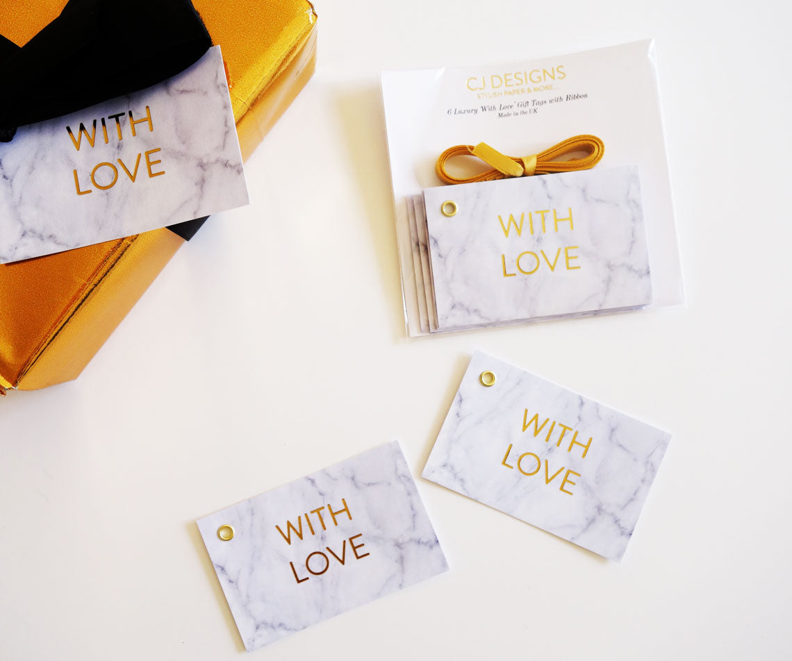White Marble 'With Love' Gift Tags