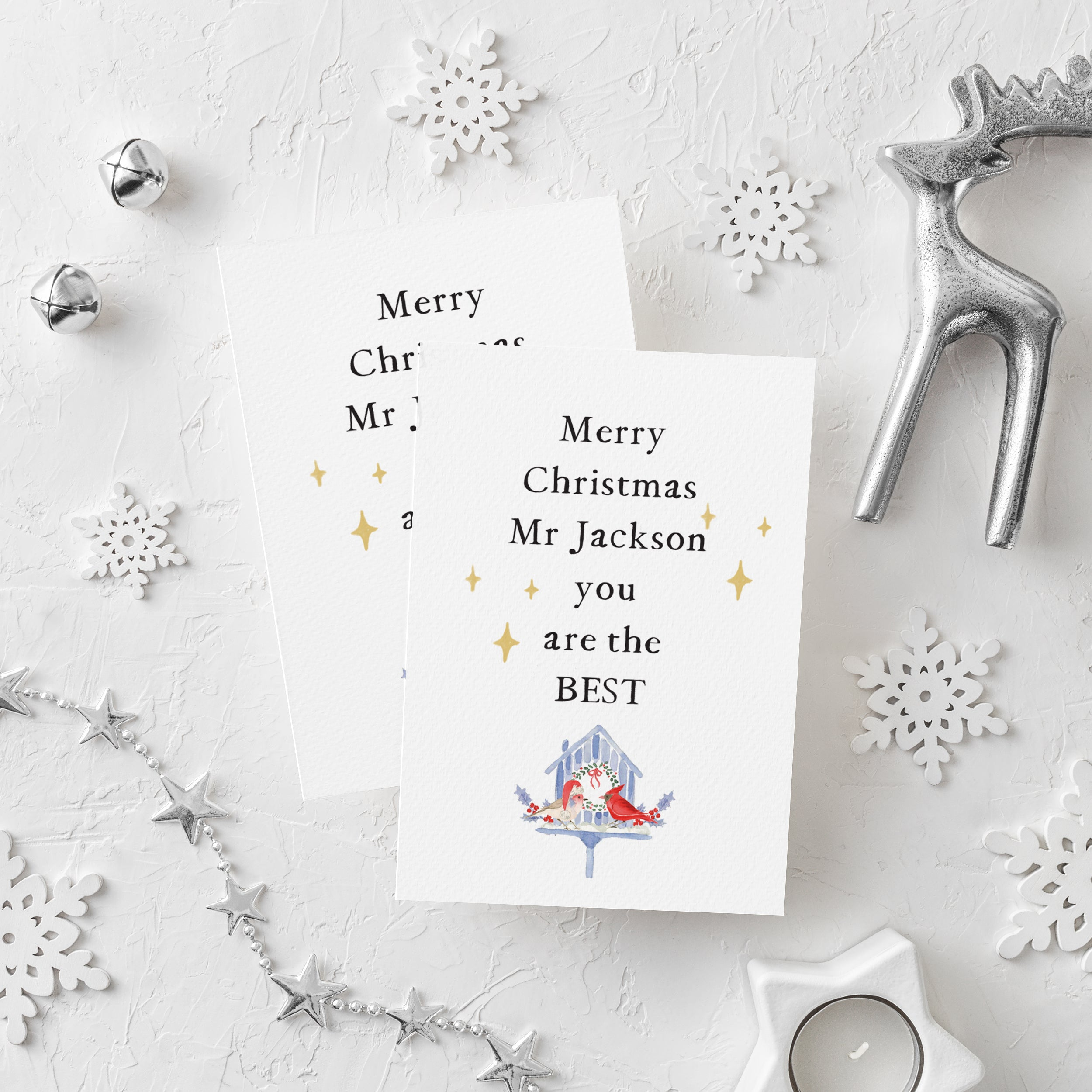 Personalised Teacher Merry Christmas Card