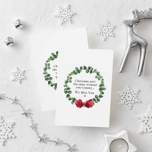 'We Miss You' Christmas Wreath Card