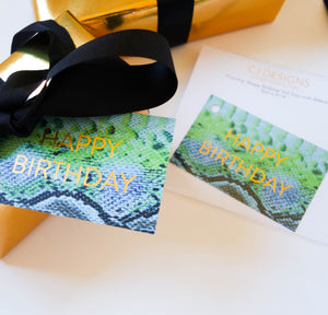 Green Snakeskin 'Happy Birthday' Gift Tags
