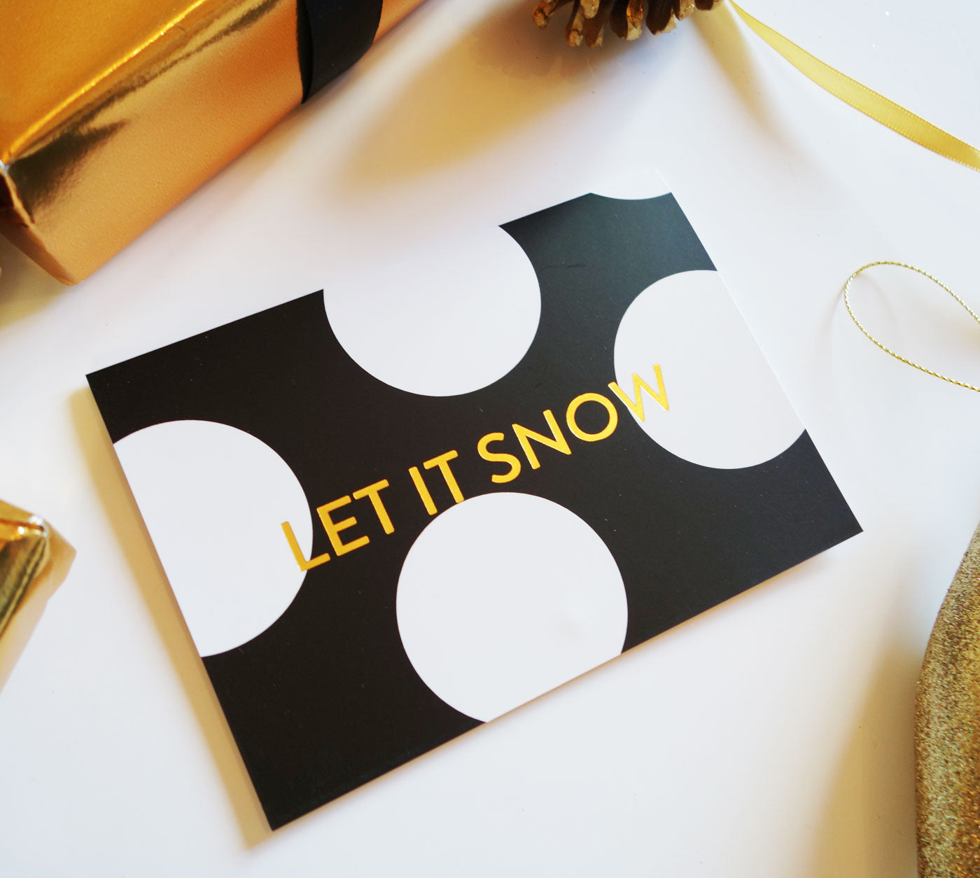 'Let It Snow' Polka Dot Gold Foil Christmas Card