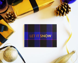 'Let it Snow' Purple Tartan Gold Foil Christmas Card