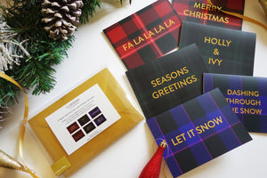 Luxury Gold Foil and Tartan Christmas Card Set