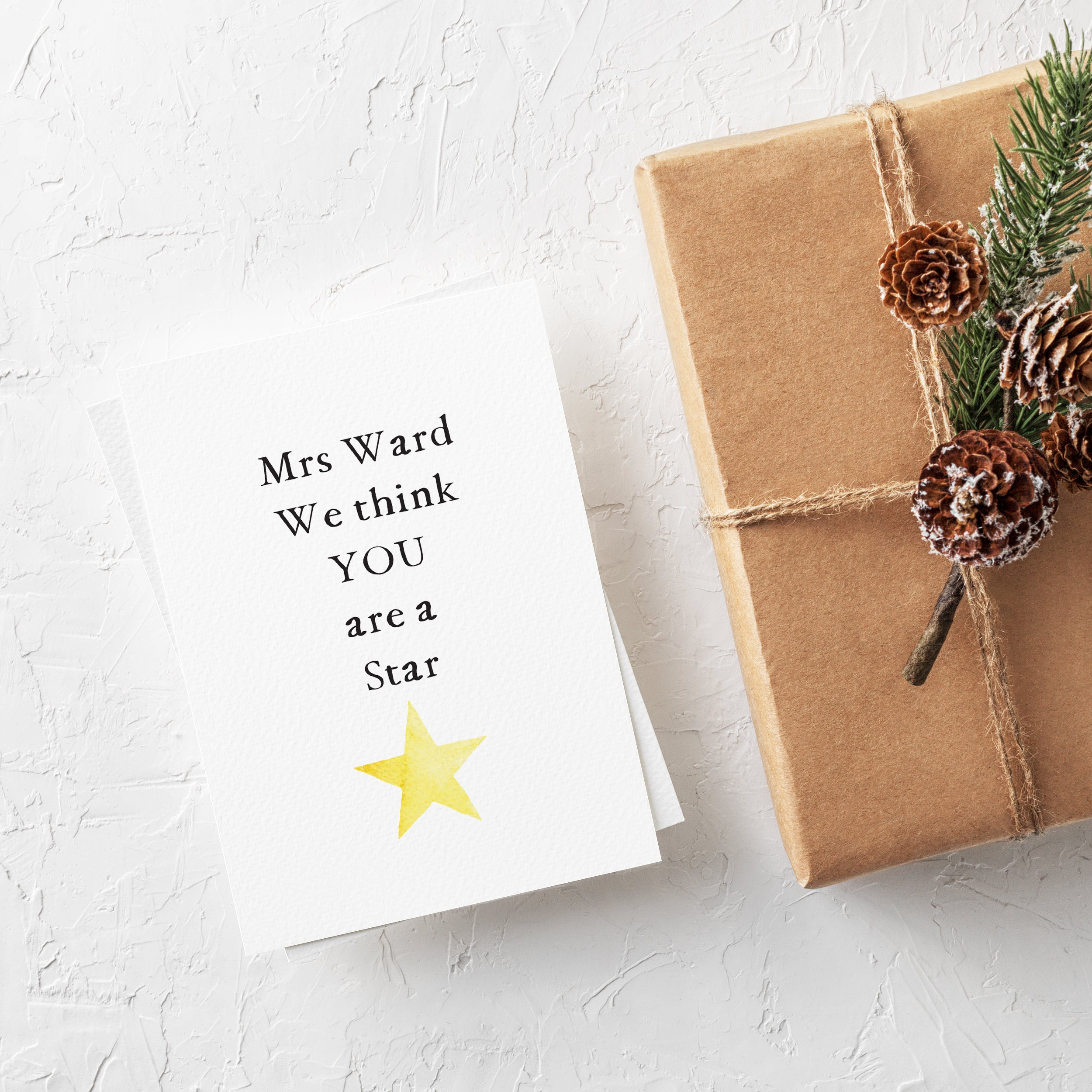Personalised 'You are a Star' Teacher Thank You Card