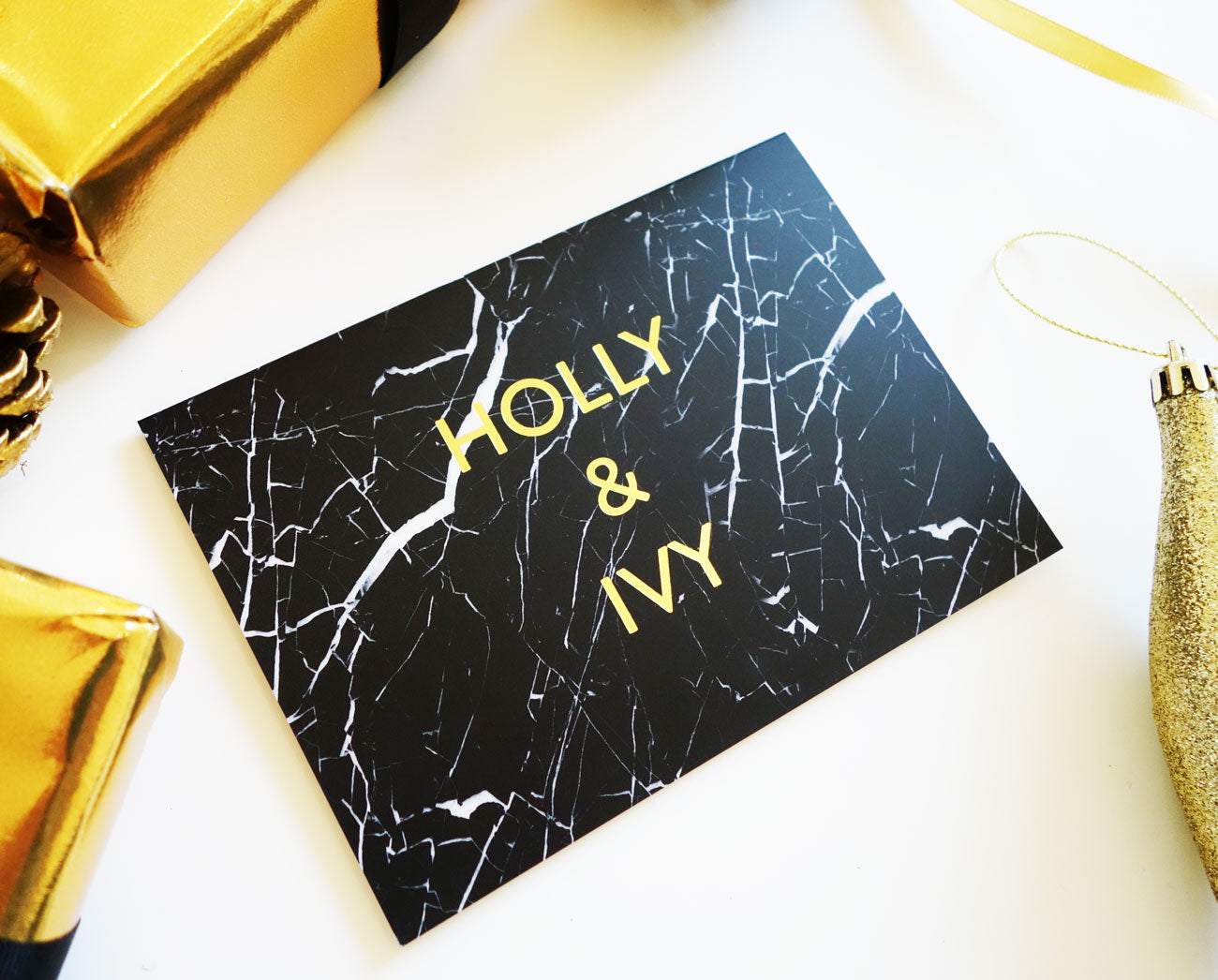 'Holly and Ivy' Black Marble Gold Foil Christmas Card