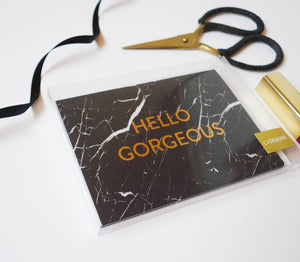 Black Marble 'Hello Gorgeous' Set Of Cards