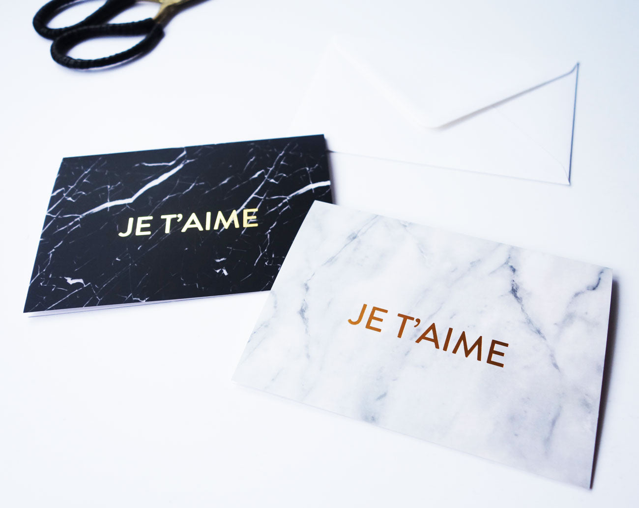 Marble (White) Je T'aime Gold Foil Love Card