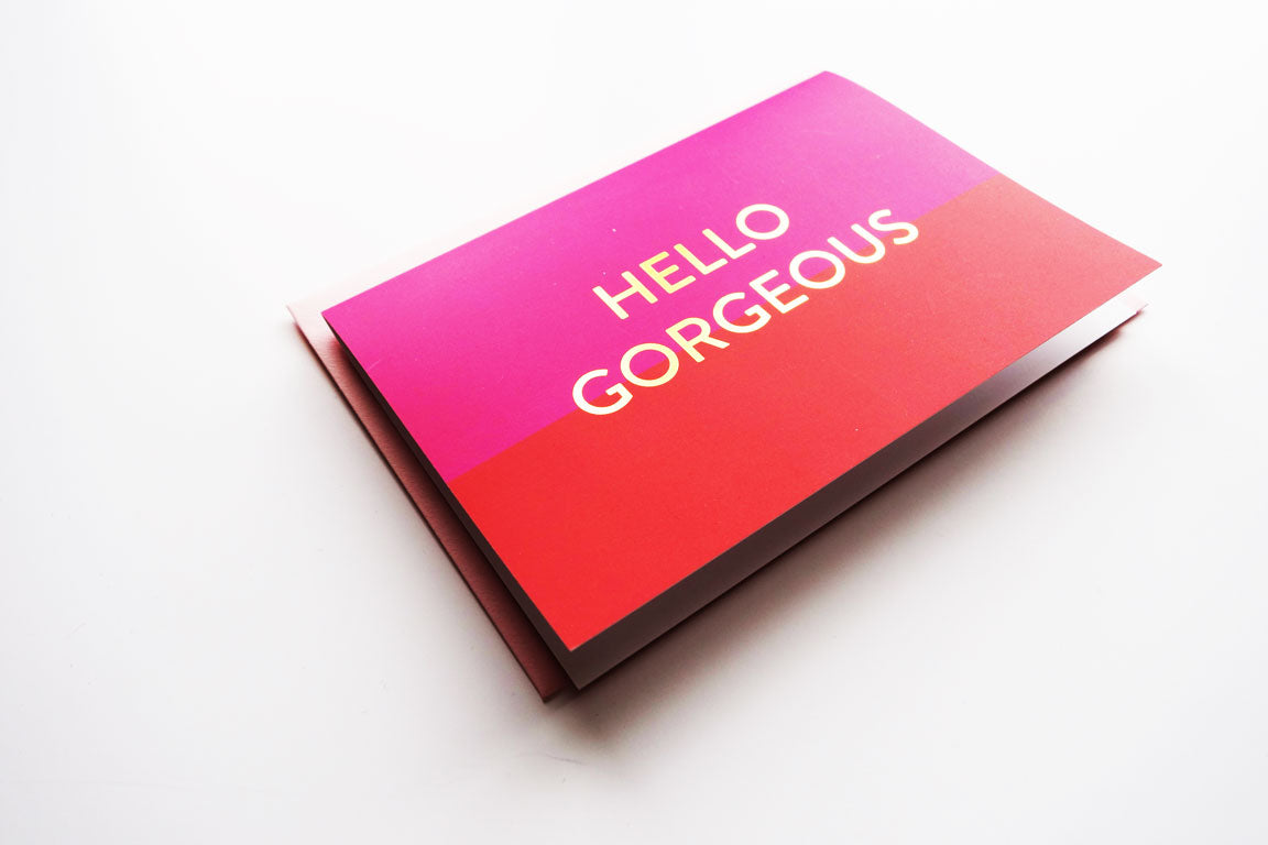 Fuchsia and Red 'Hello Gorgeous' Set Of Cards