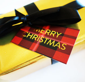 Red Tartan 'Merry Christmas' Gift Tags