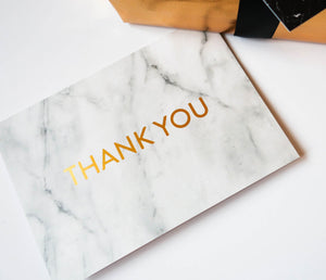 White Marble Gold Foil 'Thank You' Greeting Card