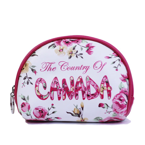 White Canada Flower Round Coin Purse