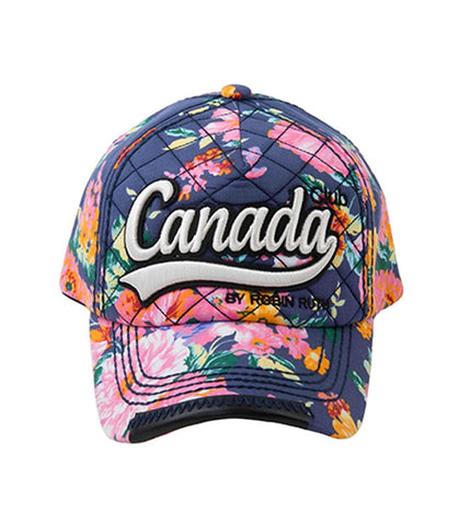 Navy Canada Flowers Embroidery Cap