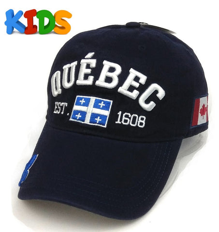 Navy Quebec Classic 3D Embroidery Kids Cap