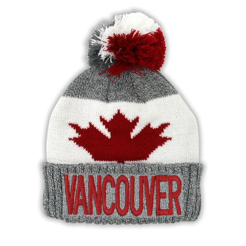 Grey Mix/Maroon Vancouver Maple Leaf Grey Pompon