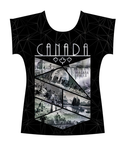 Medium Canada Silver Glitter Vintage Skyline Ladies Tee