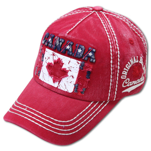 Red Canada Torn Flag Star Cap