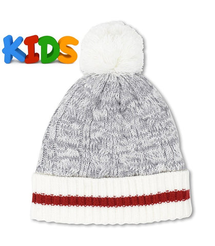 Grey Mix/Off White Kids Beanie With Pompom