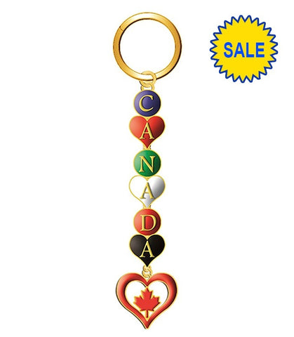 Gold Canada Letters Keychain With Charm Heart