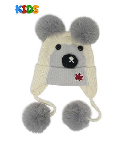Offwhite/Grey Bear With 4 Pompoms Kids Beanie