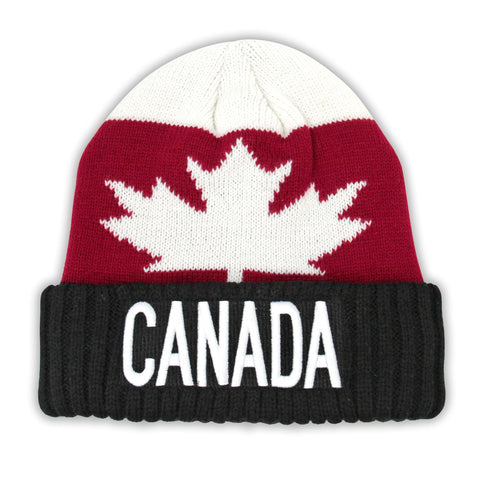 Black/Maroon/Cream Maple Leaf Athletic Beanie