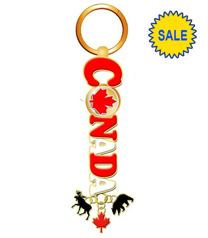 Gold Canada Spinner Leaf Keychain With Animal Charms