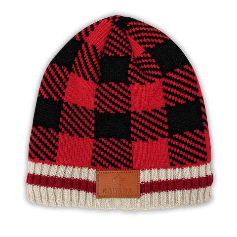 Red/Black Canada Plaid Leather Patch Beanie