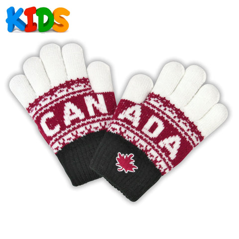 Black/Maroon/Cream Kids Canada Athletic Magic Gloves
