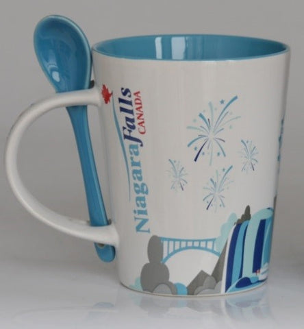 White/Blue 13Oz Niagara Falls  Vshape Coffee Shop Mug