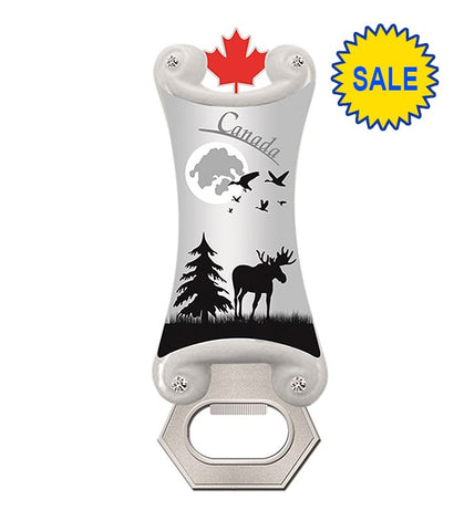 Silver Moose In The Wild Bottle Opener Magnet
