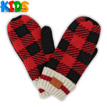 Red/Black Kids Canada Plaid Mitten