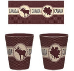 Maroon Maple Leaf/Moose Ceramic Shot Glass