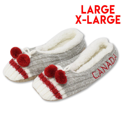 Large/X-Large Grey Canada Pompom Slipperss