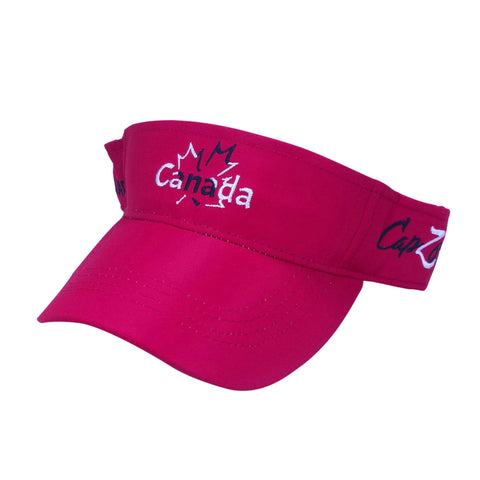 Maroon Canada Outlined Maple Visor Embroidery