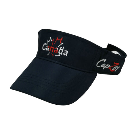 Navy Canada Outlined Maple Visor Embroidery