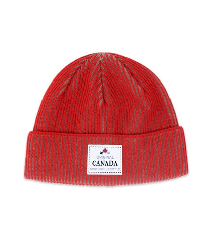 Red Canada Striped Unisex Beanie