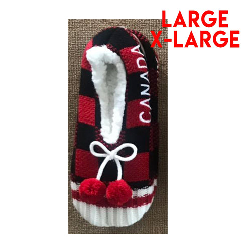 Large/X-Large Canada Plaid Slippers