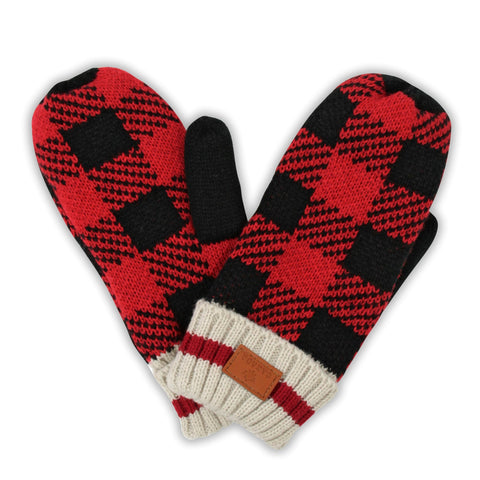 Red/Black Canada Plaid Unisex Mitten