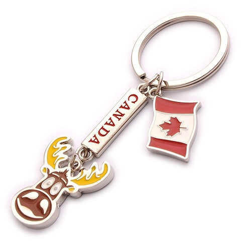Canada Moose Charm With Flag Keychain