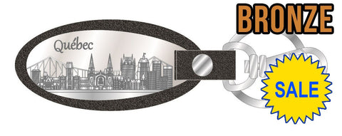 Bronze Quebec Skyline Leather Keychain