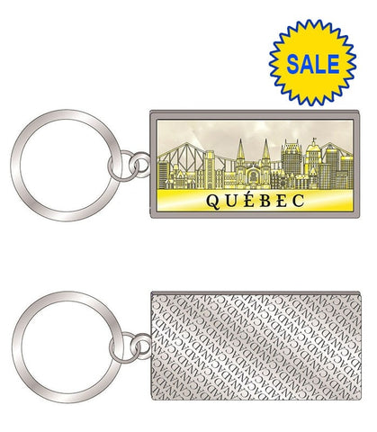 Quebec Gold Rectangle Keychain