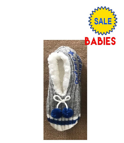 Babies Quebec Grey/Blue Pompom Slippers