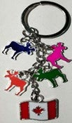 4 Colored Moose Charms Keychain