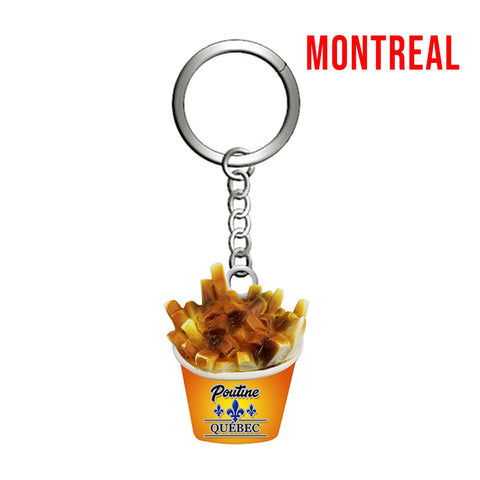 Gold Montreal Poutine Metal Keychain