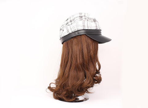 Ladies Newsboys White Checkered Hat With Brown Hair & Hat Set