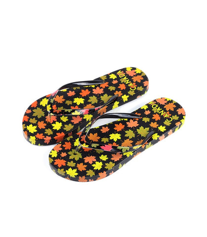 Yellow & Orange Canada Falling Leaves Girls Flip Flop