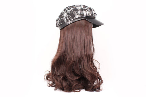 Ladies Newsboys Black Checkered Hat With Brown Hair & Hat Set
