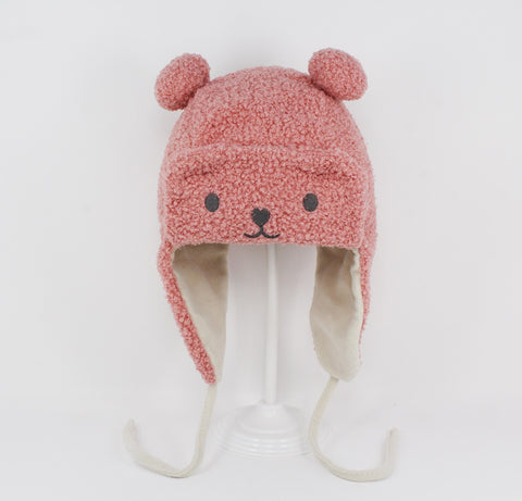 Kids Pink Bear Aviator Hat
