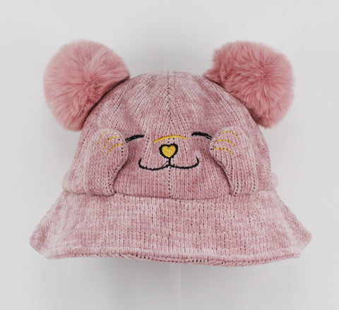 Kids Pink Cat With Pompom Ears Bucket Hat