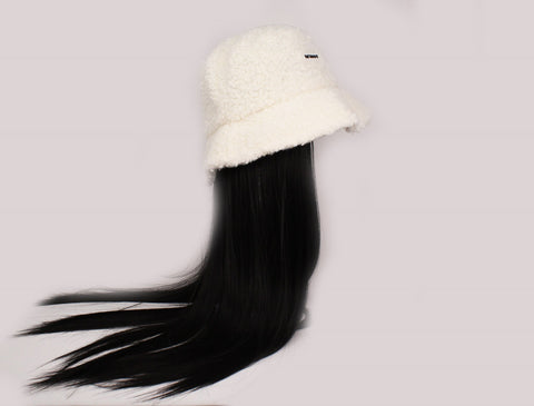 White Bucket Hat With Black Hair