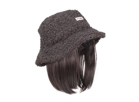 Black Bucket Hat With Short Black Hair